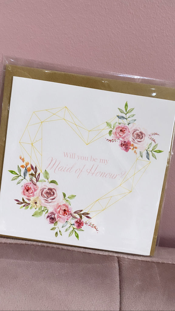 'Will you be my maid of honour'? Card (Rustic Flower)