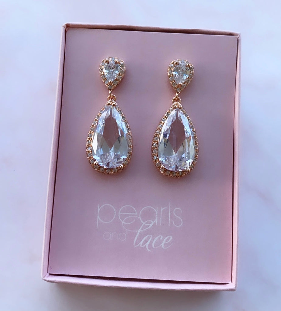 Abbie Rose Gold Bridal Earrings
