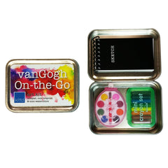 vanGogh On-the-Go play set - hinged tin with mini sketchbook, mini crayons, and mini paints