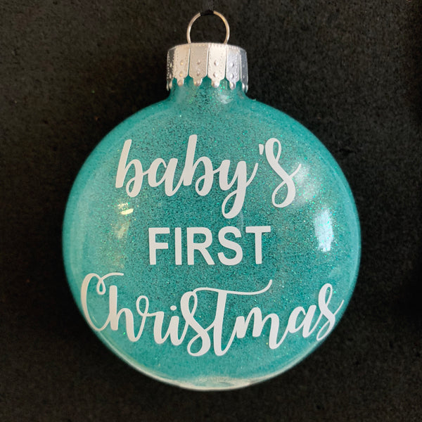 Baby's First Christmas Ornament - teal