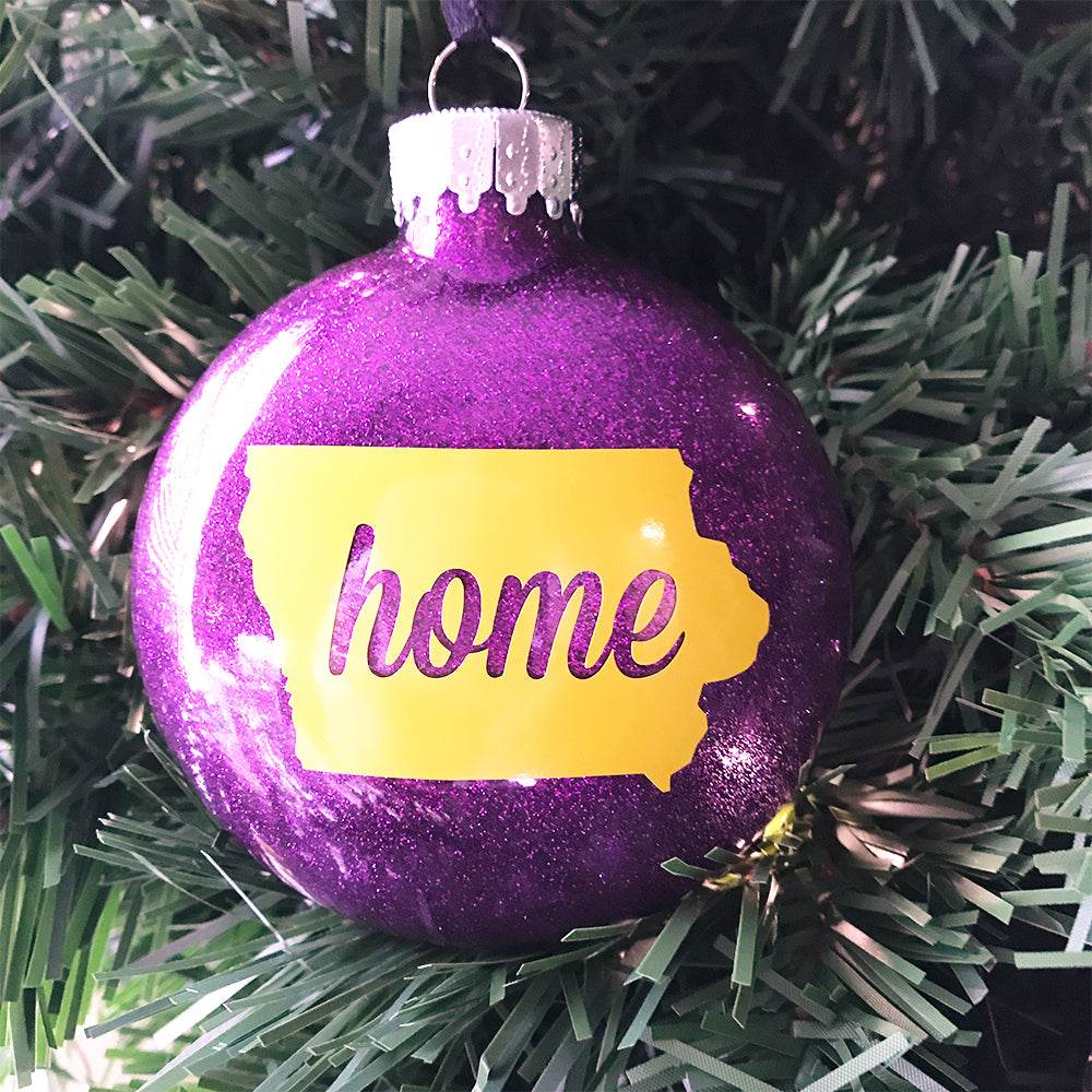 "Purple & Gold Iowa ""Home"" Ornament"