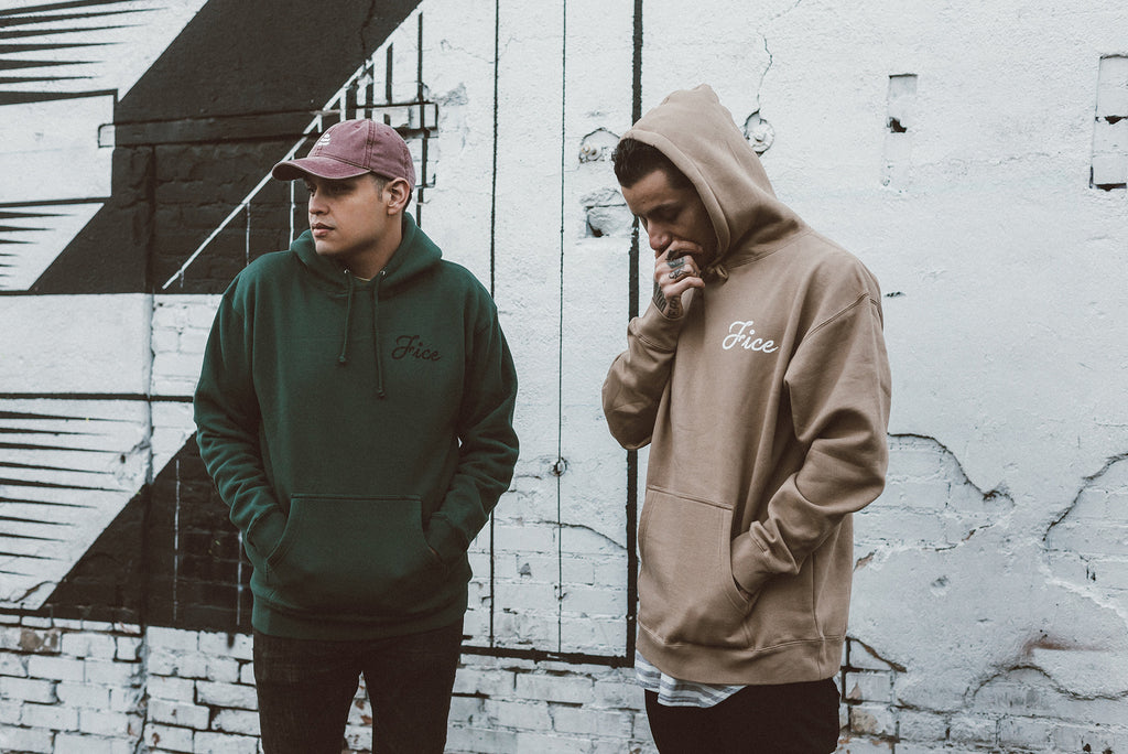 FICE Tan and Green Hoodies / Available Now