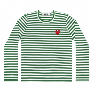 Men's Comme Des Garcon Play Striped T-Shirt - Green/White