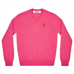 Men's Comme Des Garcon Double Eye V Neck Sweater (Wool) - Pink