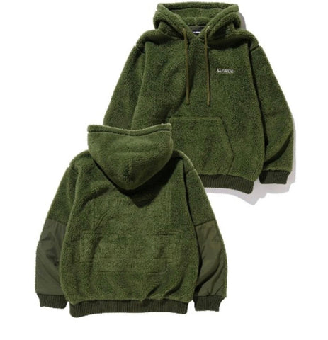 X-Large Boa Fleece Pullover Jacket - Olive