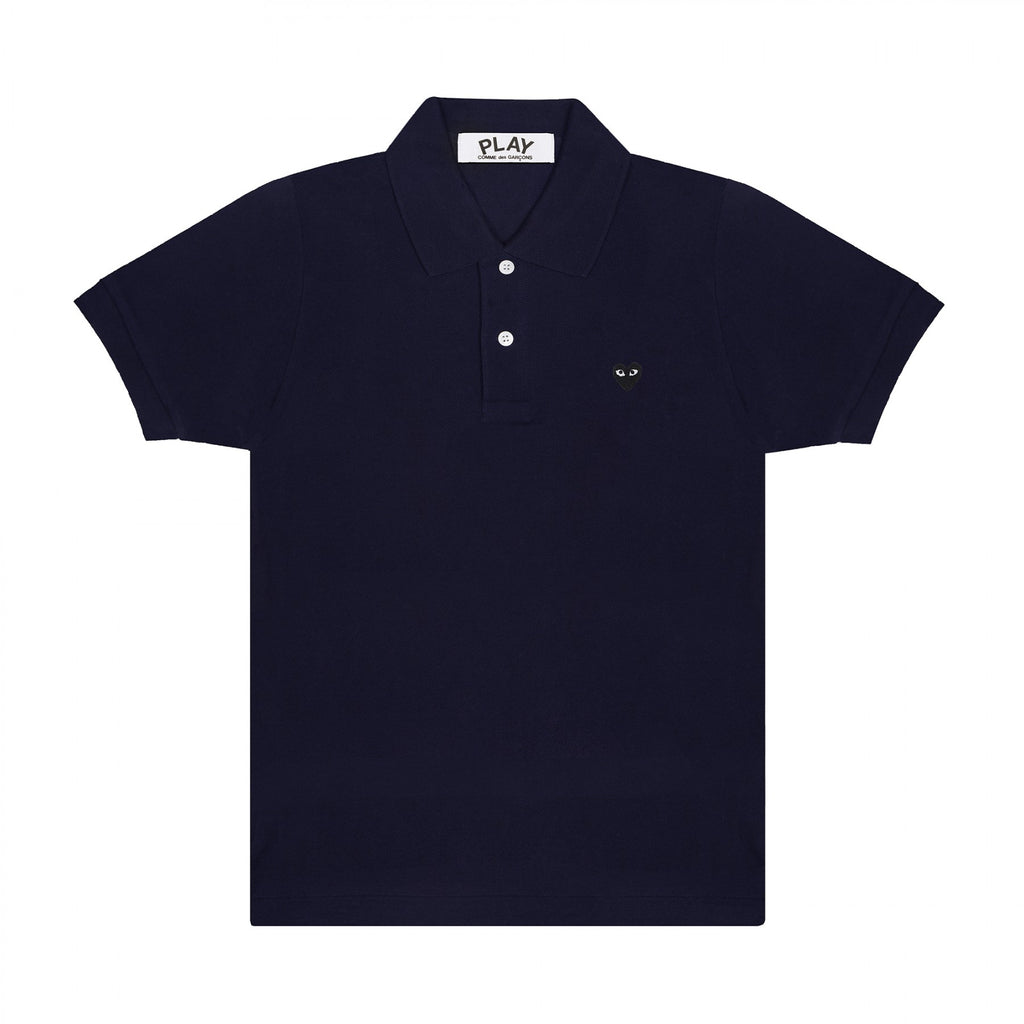 Play Comme des Garçons Small Black Heart Polo Shirt - Navy
