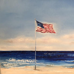 American Flag Flying at Beach with Ocean Waves ~ Claire Howard ~ Gallery at Studio Burke DC