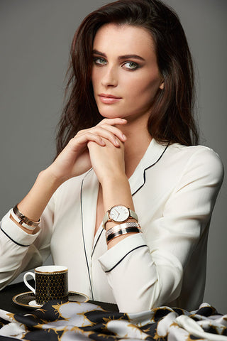 Watch, bangles, tableware and scarf by Halcyon Days