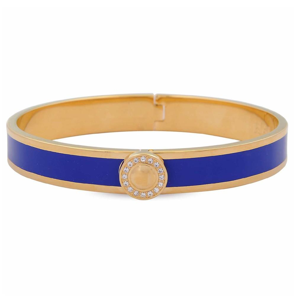 Halcyon Days 1cm Sparkle Button Hinged Enamel Bangle in Deep Cobalt and Gold-Jewelry-Sterling-and-Burke