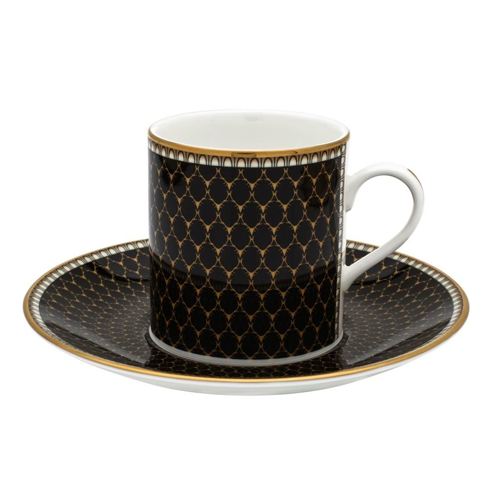 Halcyon Days Antler Trellis Coffee Cup and Saucer in Black-Bone China-Sterling-and-Burke
