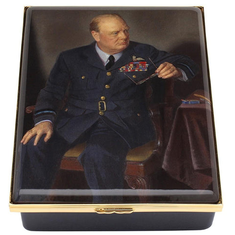 Halcyon Days Churchill Portrait by Chandor Enamel Box, Large-Prestige Box-Sterling-and-Burke