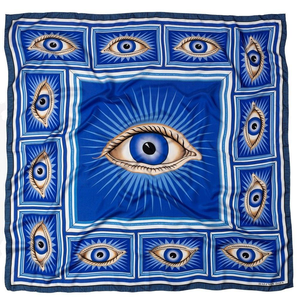 Halcyon Days Gladys Deacon Silk Shawl in Blue, 48 by 48 Inches-Ladies Silk Scarf-Sterling-and-Burke