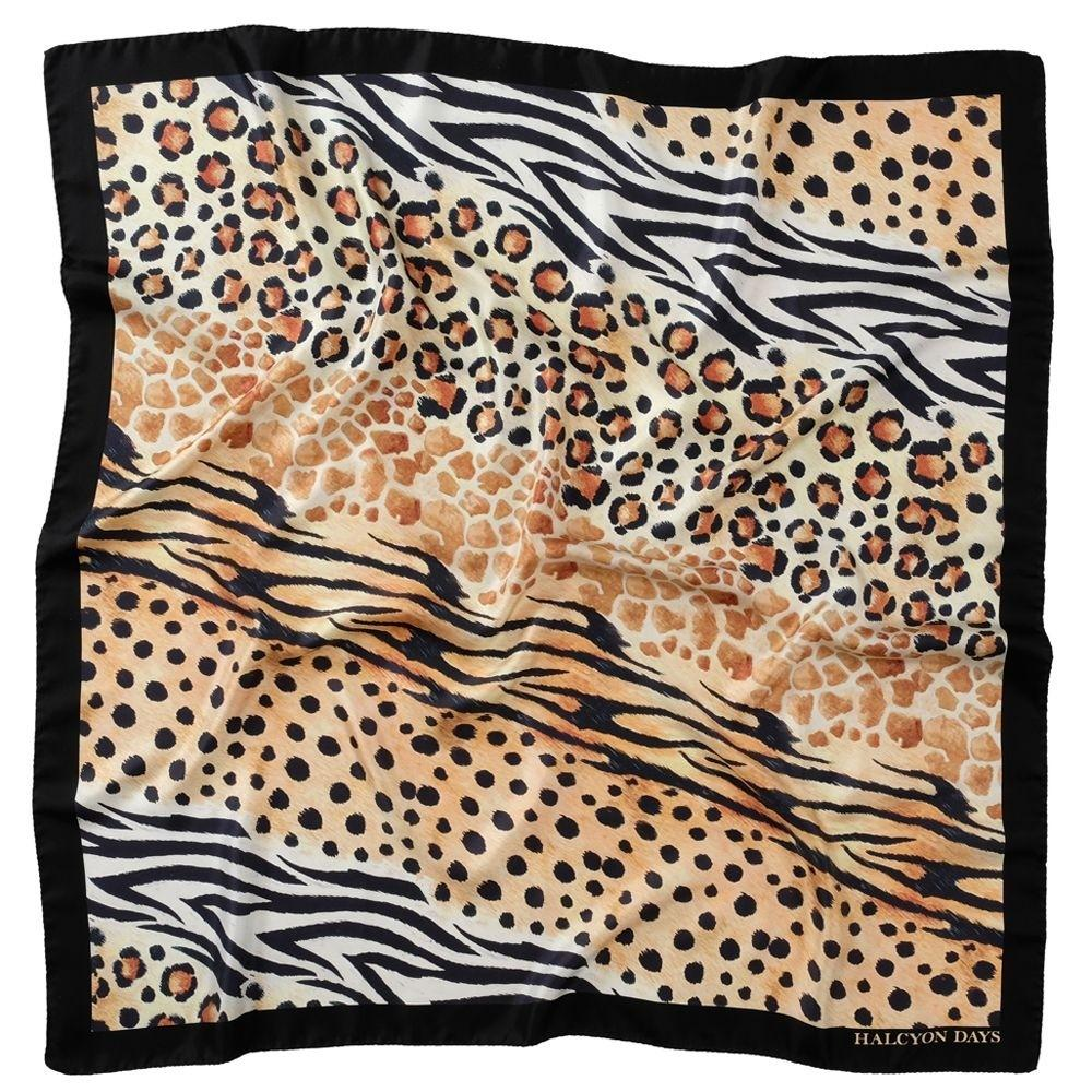 Halcyon Days Mixed Animal Print Silk Shawl in Black, 48 by 48 Inches-Ladies Silk Scarf-Sterling-and-Burke