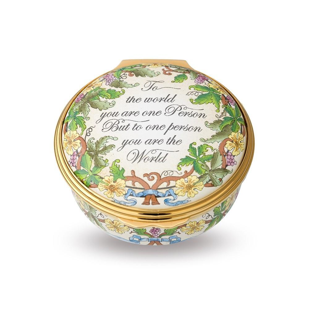 "Halcyon Days ""To the World You Are One Person"" Enamel Box-Enamel Box-Sterling-and-Burke"
