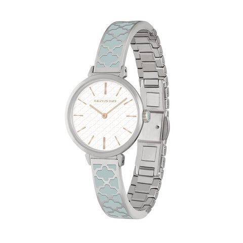 Halcyon Days Agama Enamel Bangle Strap Ladies Watch in Grey and Palladium-Ladies Watch-Sterling-and-Burke