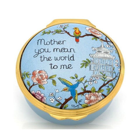 "Halcyon Days ""Mother you mean the world to me"" Enamel Box-Enamel Box-Sterling-and-Burke"