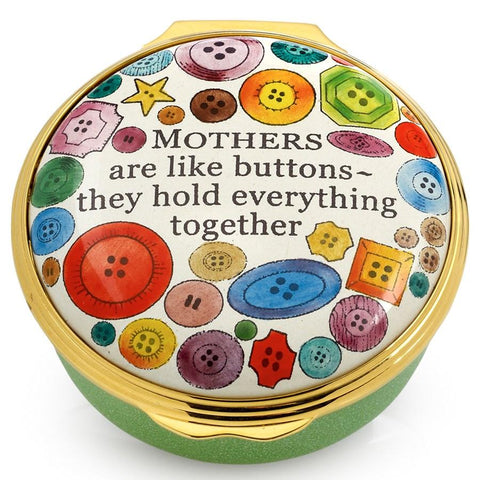 "Halcyon Days ""Mother's Are Like Buttons ~ They Hold Everything Together"" Enamel Box-Enamel Box-Sterling-and-Burke"