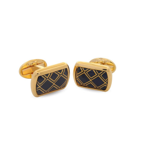 Halcyon Days Diamond Cufflinks in Navy and Gold-Enamel Cufflinks-Sterling-and-Burke