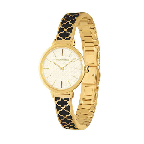 Halcyon Days Agama Enamel Bangle Strap Ladies Watch in Black and Gold-Ladies Watch-Sterling-and-Burke