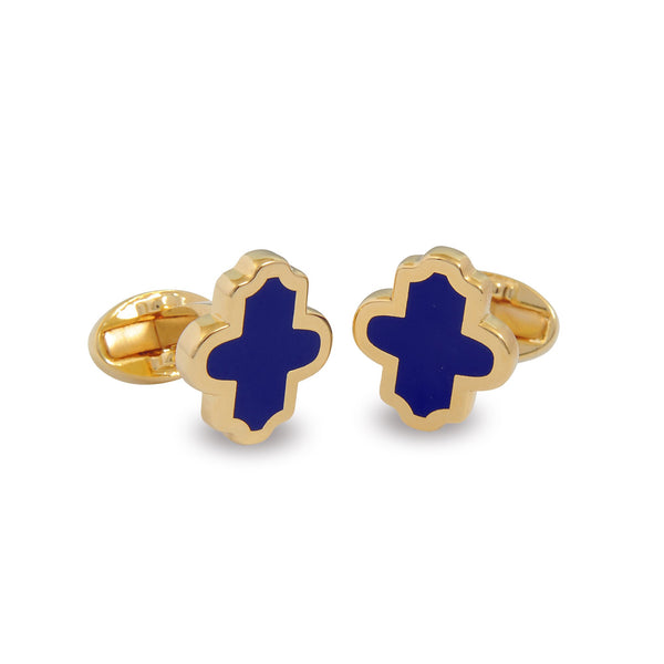 Halcyon Days Single Agama Cufflinks in Navy and Gold-Enamel Cufflinks-Sterling-and-Burke