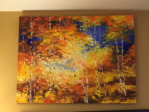 "Art | Autumn Sunbeams II | Original Oil Painting by Claire Howard | 30"" x 40""-Oil Painting-Sterling-and-Burke"