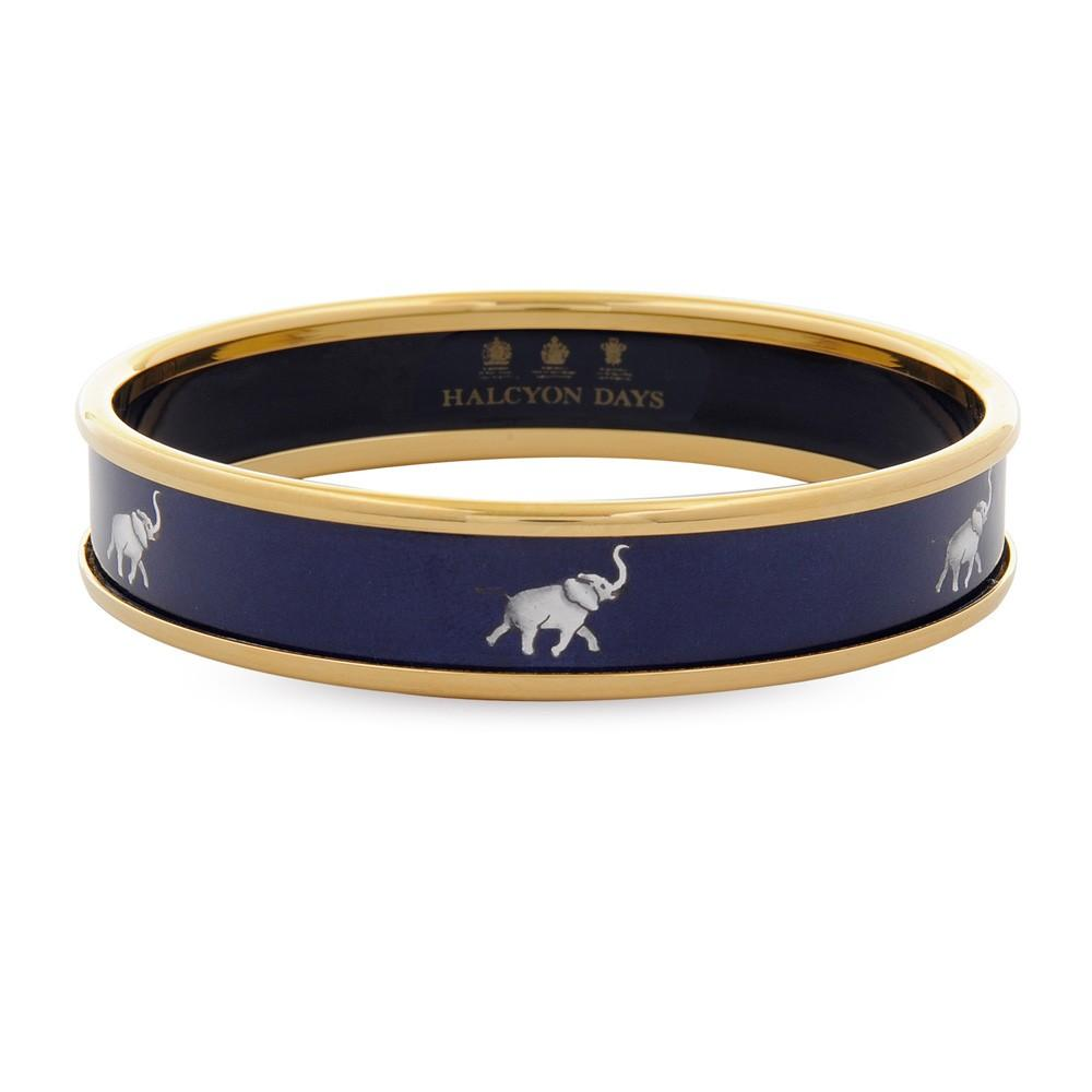 Halcyon Days 1cm Grey Elephant Push Enamel Bangle in Navy and Gold-Jewelry-Sterling-and-Burke