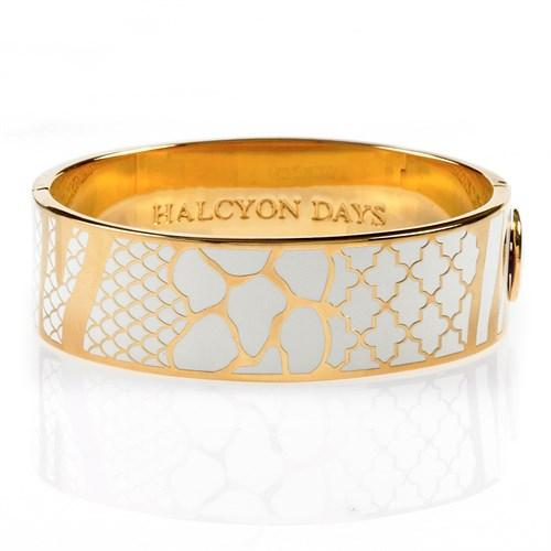 Halcyon Days 19mm Wildlife Hinged Enamel Bangle in Cream and Gold-Bangle-Sterling-and-Burke
