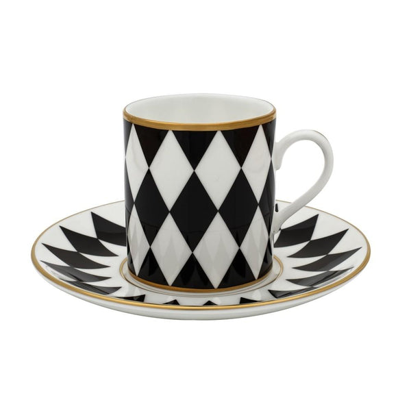 Halcyon Days Parterre Coffee Cups and Saucers in Black, Set of 6-Coffee / Tea Set-Sterling-and-Burke