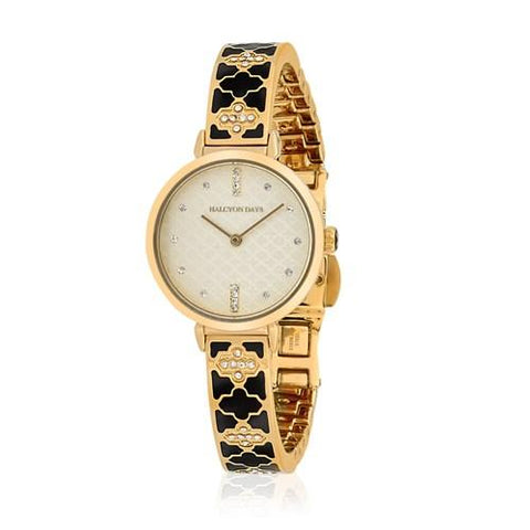 Halcyon Days Agama Sparkle Enamel Bangle Strap Watch in Black and Gold-Ladies Watch-Sterling-and-Burke