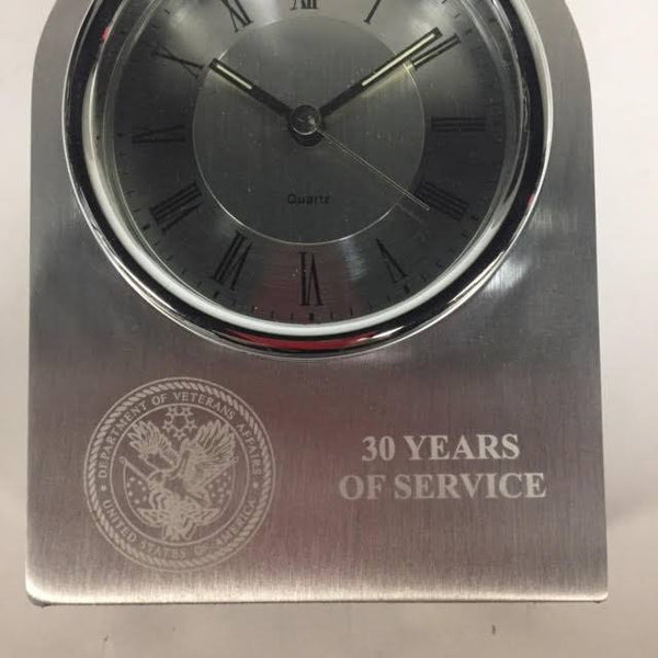 VA Service Award | 30 Years of Service | Silver Arch Clock | Sterling and Burke-Pewter-Sterling-and-Burke