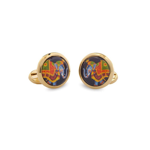 Halcyon Days Ceremonial Indian Elephant Cufflinks in Black and Gold-Enamel Cufflinks-Sterling-and-Burke