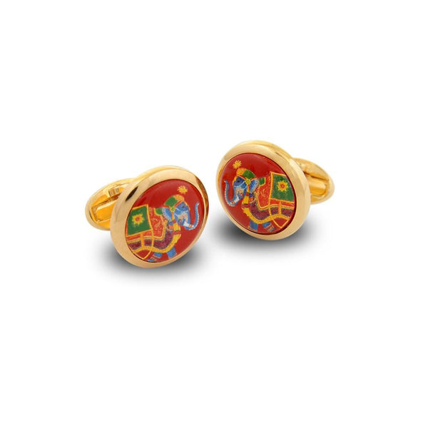 Halcyon Days Ceremonial Indian Elephant Cufflinks in Red and Gold-Enamel Cufflinks-Sterling-and-Burke
