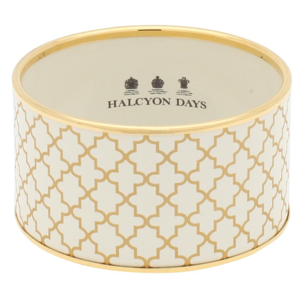 Halcyon Days 4cm Agama Print Push Enamel Bangle in Cream and Gold-Bangle-Sterling-and-Burke