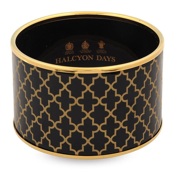 Halcyon Days 4cm Push Enamel Bangle in Black and Gold-Jewelry-Sterling-and-Burke