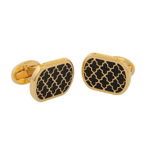 Halcyon Days Agama Cufflinks in Black and Gold-Enamel Cufflinks-Sterling-and-Burke