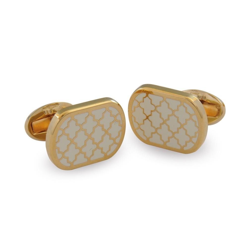 Halcyon Days Agama Cufflinks in Cream and Gold-Enamel Cufflinks-Sterling-and-Burke