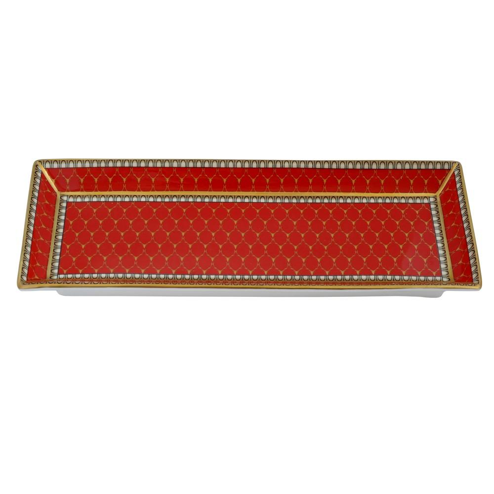 Halcyon Days Antler Trellis Trinket Tray in Red, Rectangular-Bone China-Sterling-and-Burke