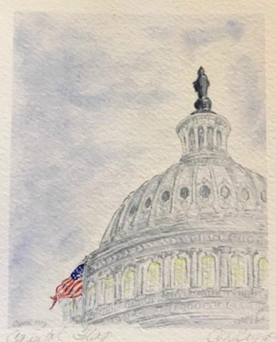 "Capitol Art | Capitol Flag | Limited Edition Giclee Print Card by Carole Moore Biggio | 7"" x 5"""