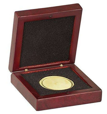 Rosewood Award Box | Box to Display a Metal and Challenge Coin | Matte Finish Rosewood | Custom Engraving | 3.75 by 3.75 inches-Award-Sterling-and-Burke