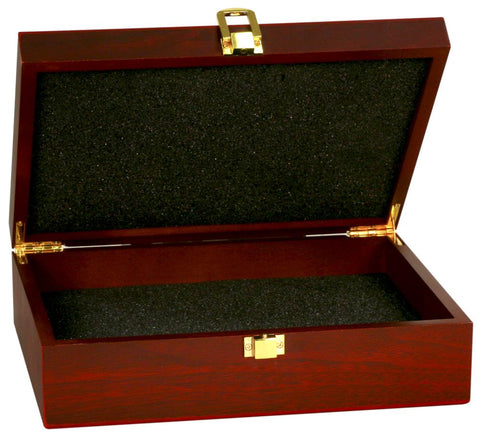 Rosewood Desk Box | Stationery Box | Piano Finish Rosewood | Custom Engraving | 10 by 8 inches-Award-Sterling-and-Burke