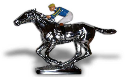 Award Trophy | Hood Ornament Mascot | RACEHORSE with JOCKEY | 4 by 6 Inches | Made in England