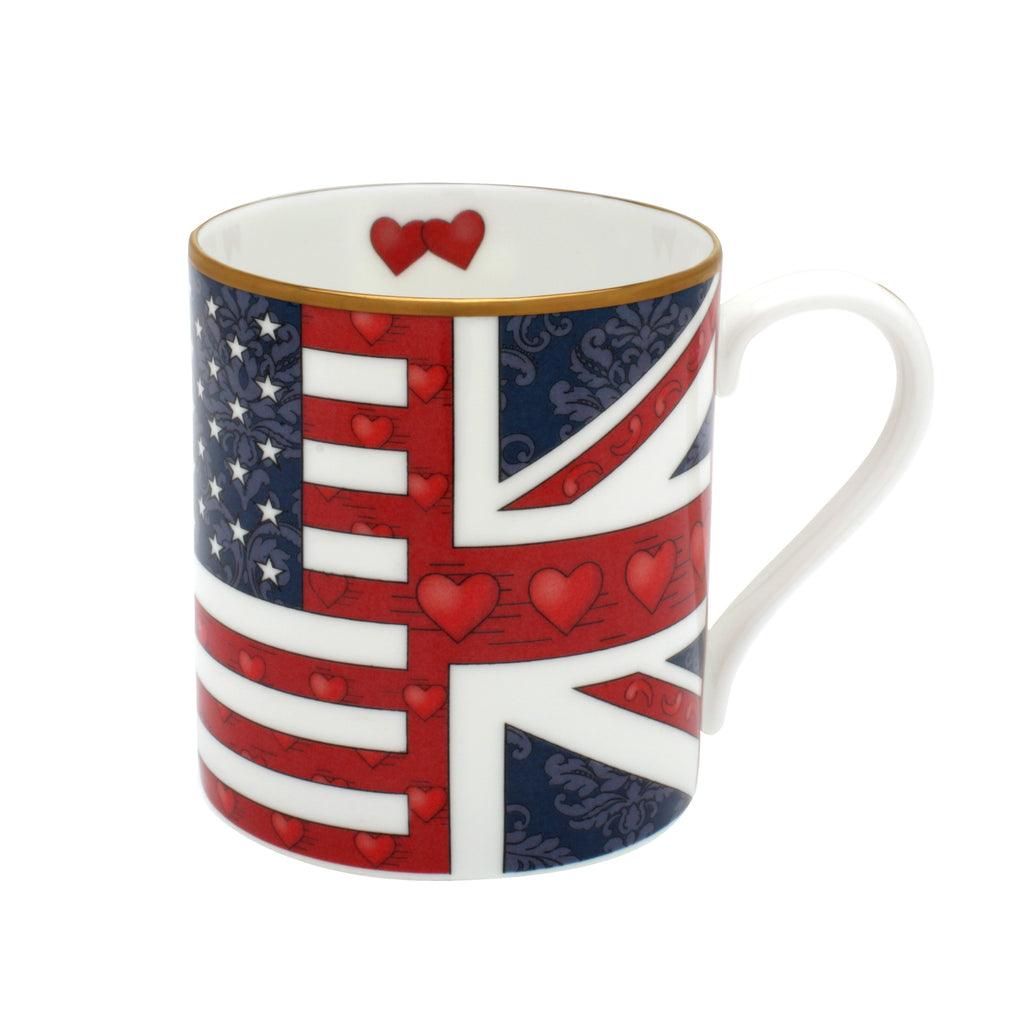 Halcyon Days Very Special Relationship Flag Mug-Bone China-Sterling-and-Burke