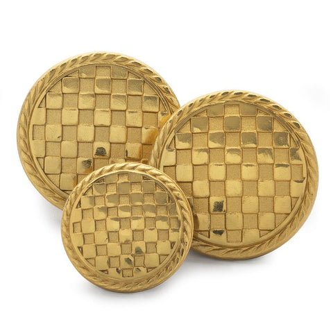 Checkerboard Blazer Buttons | Gold Plated Blazer Buttons | Made in England | Benson and Clegg, London