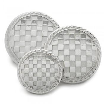 Checkerboard Blazer Button Set in Silver-Blazer Buttons-Sterling-and-Burke