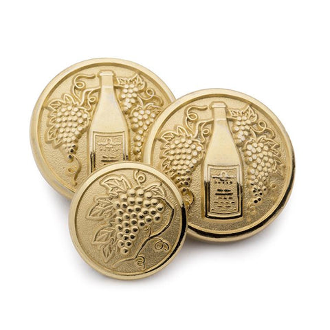 Wine Bottles and Wine Grapes Blazer Buttons | Gilt / Gold Plated Blazer Buttons | Made in England | Benson and Clegg, London