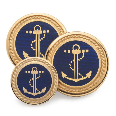 Anchor and Rope Blue Enamel and Gold Blazer Buttons | Gilt / Gold Plated Enamel Blazer Buttons | Made in England | Benson and Clegg, London