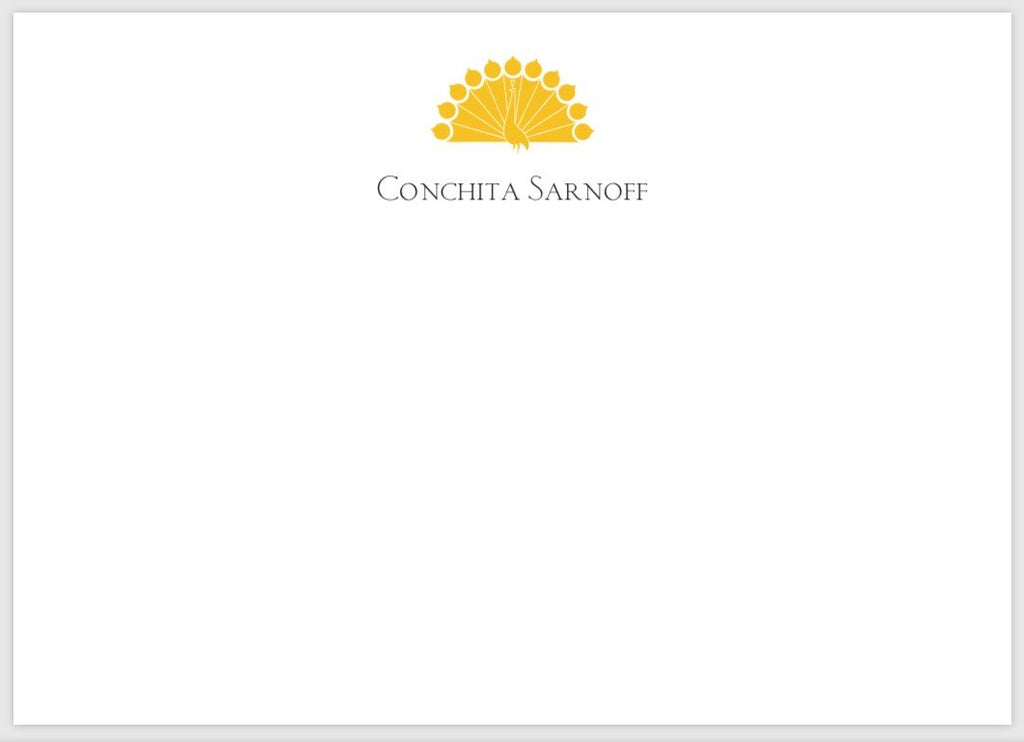 Conchita Sarnoff Bespoke Stationery | Correspondence Card | Gold Logo and Text on Correspondence Card | Hand Engraved | Sterling and Burke Ltd-Custom Stationery-Sterling-and-Burke