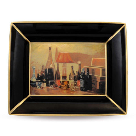 Halcyon Days China Bottlescape by Churchill Trinket Tray in Black and Gold, Rectangular-Bone China-Sterling-and-Burke
