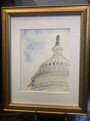 Capitol Art | Capitol Flag II | Framed and Signed Limited Edition Giclée Print | Carole Moore Biggio | 10 by 8 Inches
