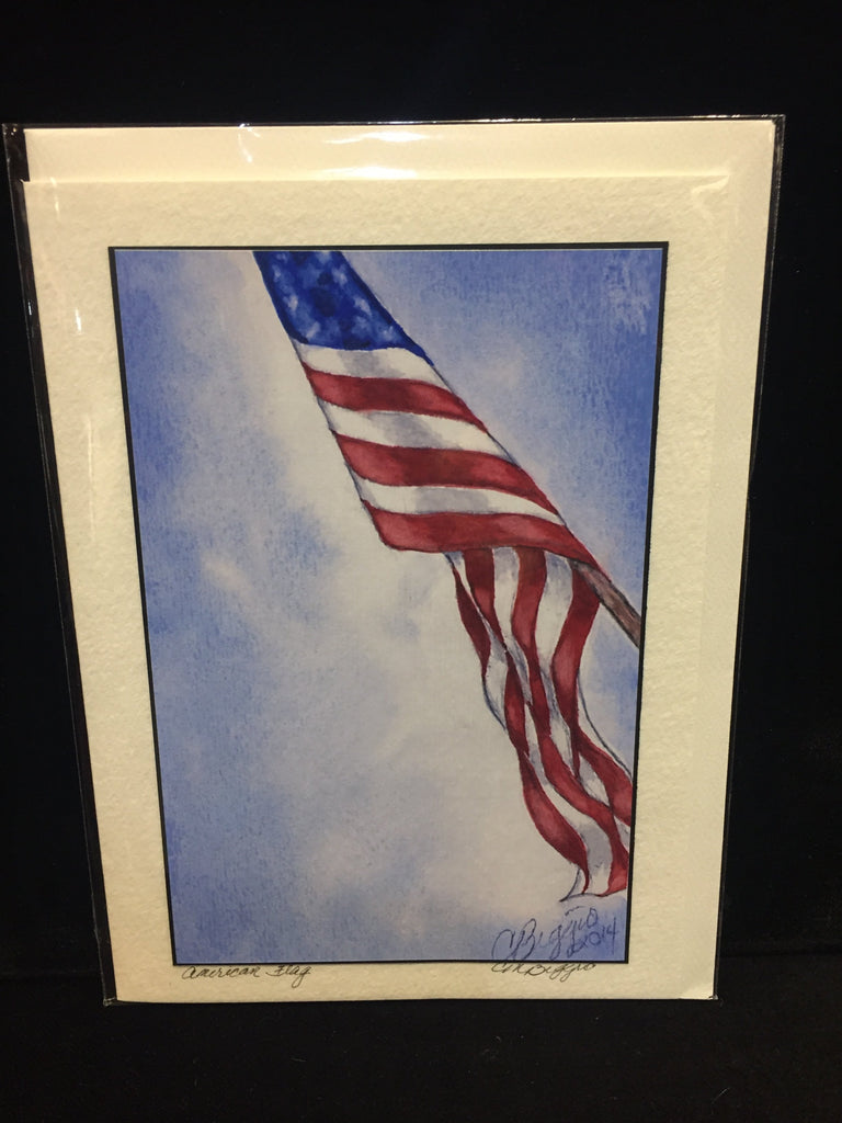 "American Flag | Print with Black Signature by Carole Moore Biggio | 7"" x 5""-Greeting Cards-Sterling-and-Burke"